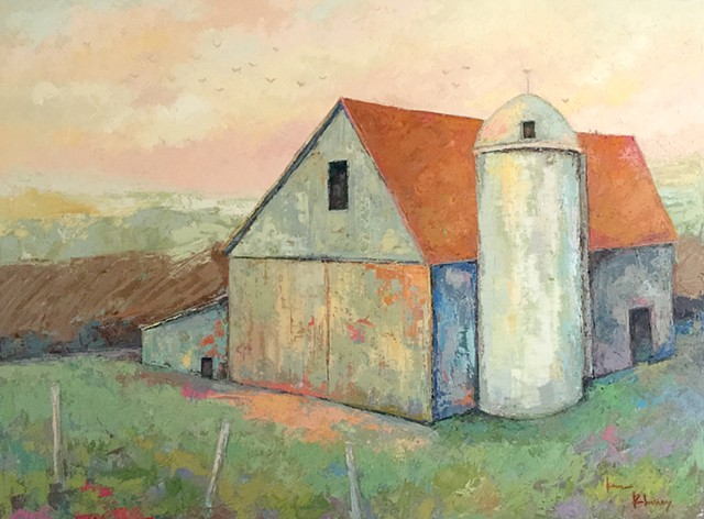 Oil & Cold Wax Painting, Barn Painting, Knife Painting