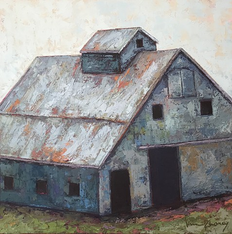 Blue Barn Painting , barn art,  Oil and Wax painting