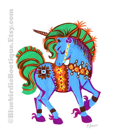 Dala Unicorn Blue - Scandinavian Whimsy