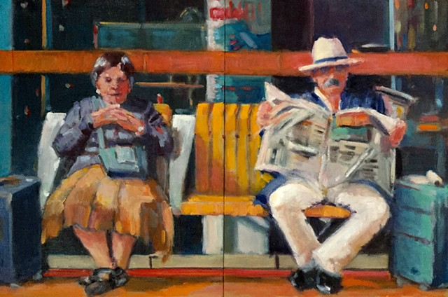 narrative figurative france normandy lisieux train station  homage to Grant Wood   shelley lowenstein