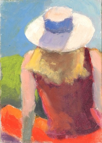 shelley lowenstein Laguna California  young woman in hat  Peggy Kroll Roberts gesture painting  study light high-key oil