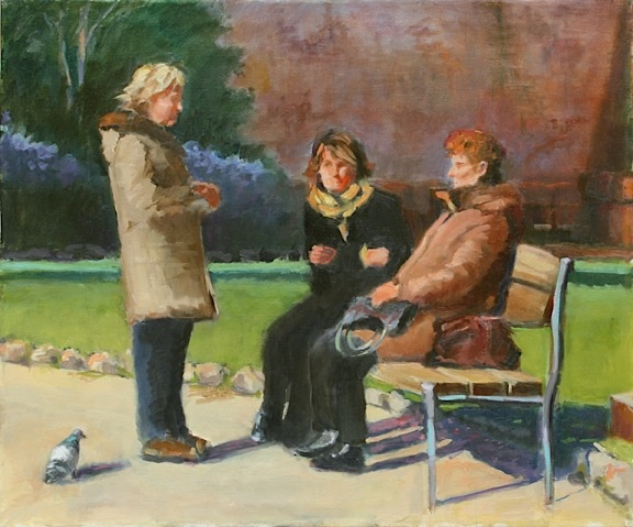 shelley lowenstein abstracted realism oil gesture figurative painting gossiping old women in italy park