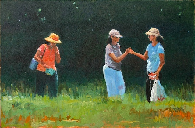 shelley lowenstein oil gesture figurative painting plein air three women eating strawberries butlers orchard