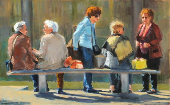 lowenst artist oil italian men and women talking on park bench