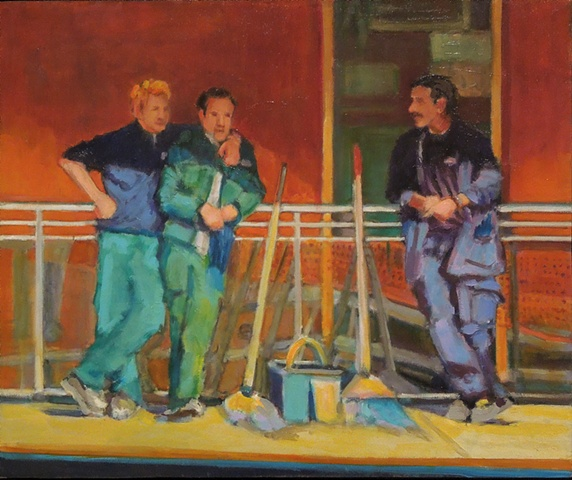 lowenstein oil paintings cinque terre italy three janitors maintenance workers train station