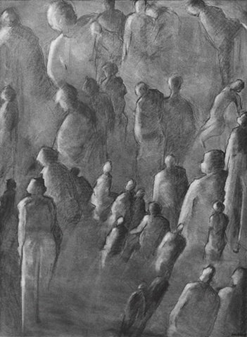 shelley lowenstein abstract realism graphite on paper crowd of figures looking upward toward light angels
