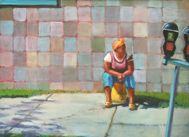 shelley lowenstein artist oil gesture figurative painting homeless woman washington dc street scene urban