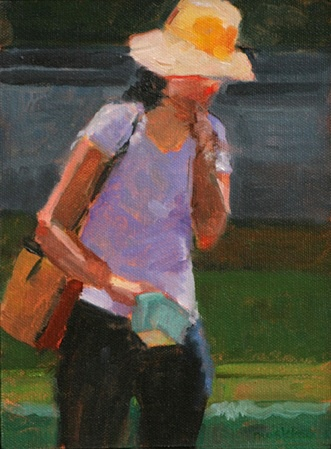 lady eating strawberry in field oil gesture figurative painting plein air  shelley lowenstein