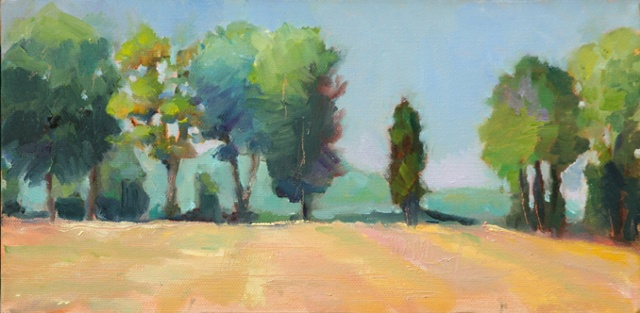 plein air oil painting landscape Butler's Orchard Maryland farm rows of crops crest of hill by shelley lowenstein