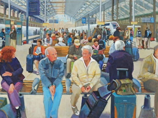 lowenstein artist oil people sitting on benches waiting in Paris train station