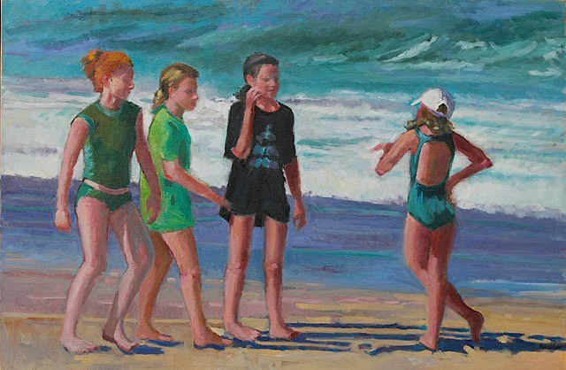 shelley lowenstein oil gesture figurative painting four girls on beach narrative waves