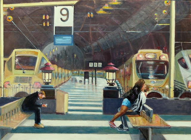 lowenstein train stations people waiting narrative paintings figurative  figures
