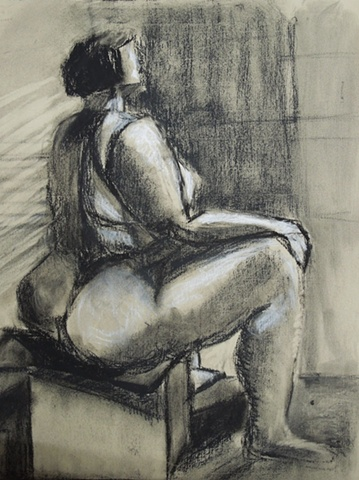 shelley lowenstein nude heavy over-sized body female conte and charcoal work on paper