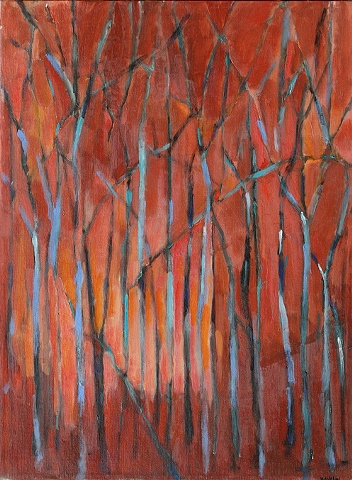 oil painting landscape abstract trees in the woods by shelley lowenstein