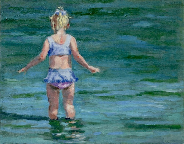 shelley lowenstein abstract realism oil gesture figurative painting narrative young girl in water ocean beach