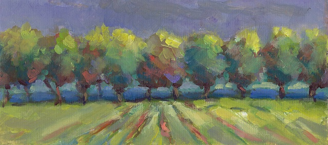 shelley lowenstein plein air oil painting landscape burgundy france Beaune  fields rows of trees vineyards