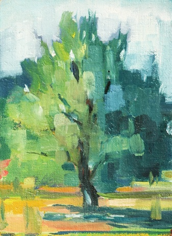 shelley lowenstein plein air oil painting Butlers Orchard Maryland field landscape