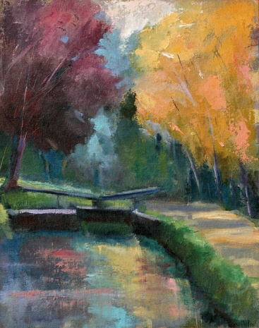 plein air oil painting landscape C&O canal washington, dc tow path by shelley lowenstein