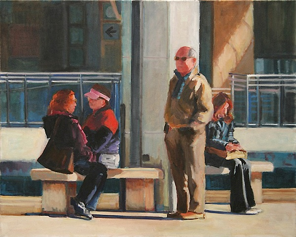 shelley lowenstein artist oil gesture figurative painting narrative four italian men women waiting at train station loneliness