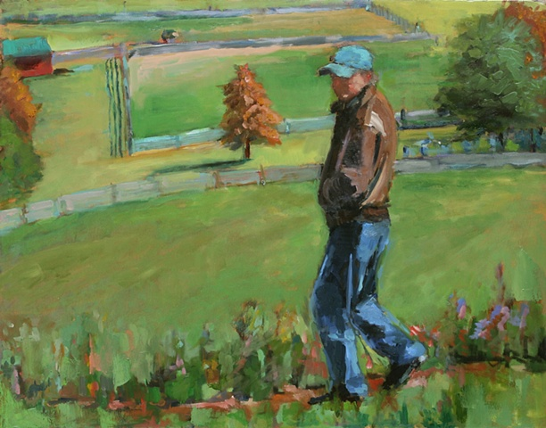 shelley lowenstein contemporary oil gesture figurative painting narrative man on rural hill at kentuck knob pennsylvania field