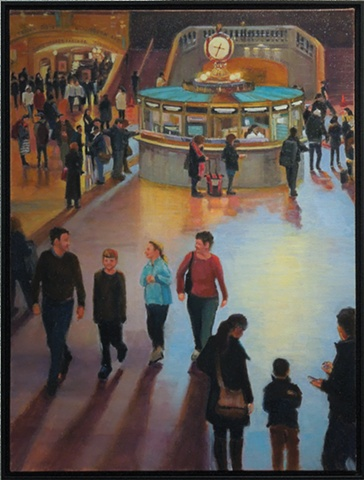 lowenstein oil painting grand central main concourse crowd new york city