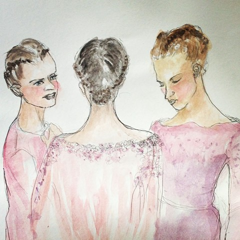 Elie Saab Backstage Fashion Illustration