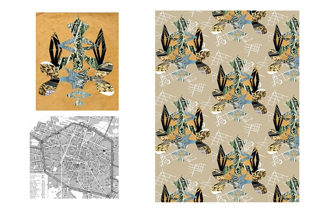 Collage, Found Object, Suburbs, Damask, Print and Pattern, Textile, Laura Schneider