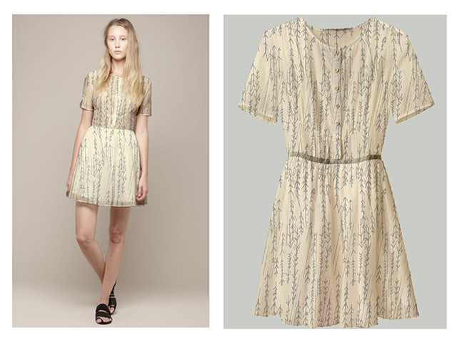 Arrow Pattern & Texture Mapped Dress/Fashion