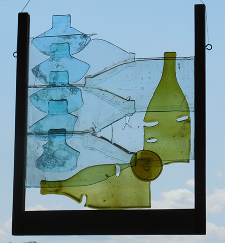 bottle glass, wood