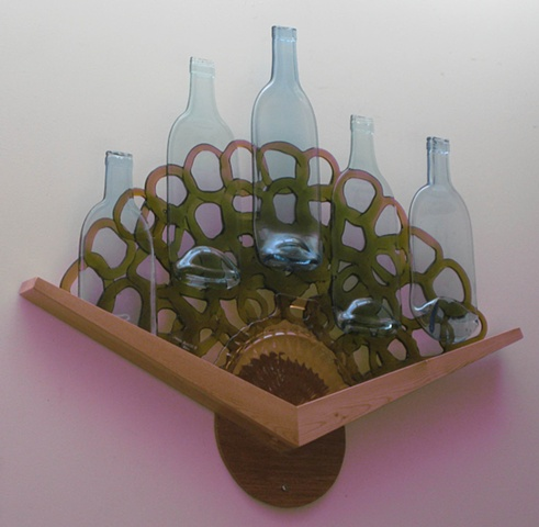 bottle glass, pink platter