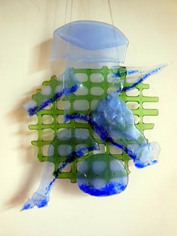 bottle glass, blue frit.