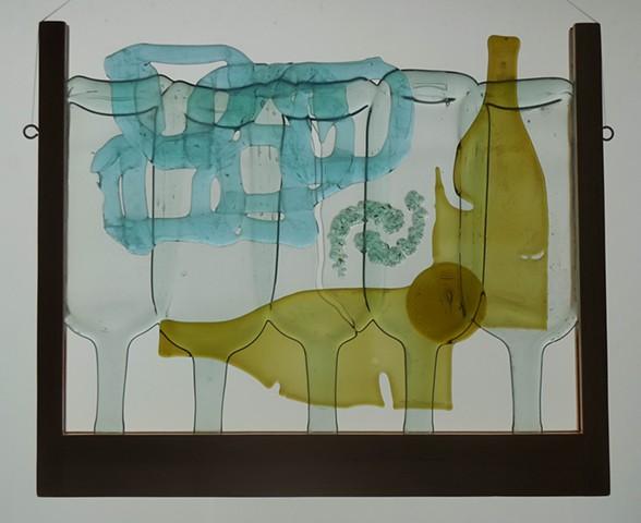 bottle glass, windshield crumbs, wood