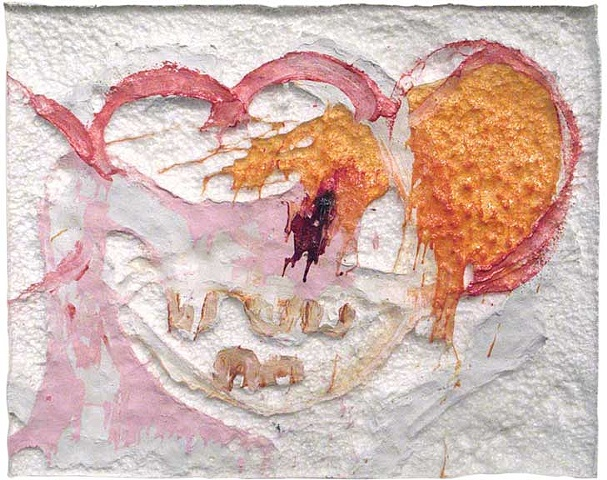 Paint and Melted Polystyrene paintings sculpture art matthew miller