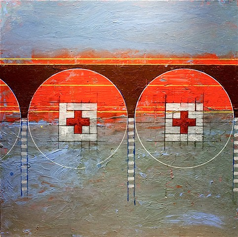 Y-axis painting nozick designs red cross arches