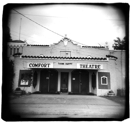 Holga photo of old theater in Comfort, Texas