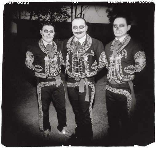 Holga photo of Mariachis Dia de los Muertos
