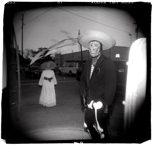 Holga photo of Day of the Dead man in costume