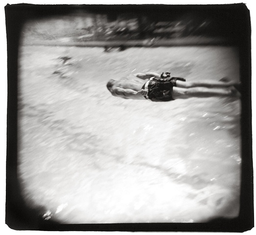 Holga photograph of a diver in Austin, Texas