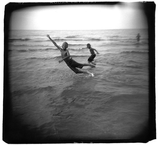 Holga photo of boys in Lake Erie