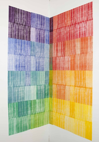 Multicolored woodcut by Sandra Butler