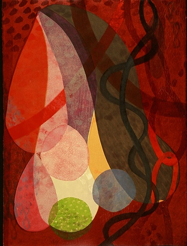 Organic abstract monotype by Sandra Butler