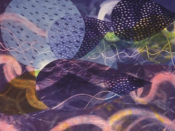 Abstract monotype with woodcut by Sandra Butler