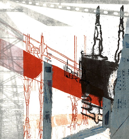 Monoprint of a bridge by Sandra Butler