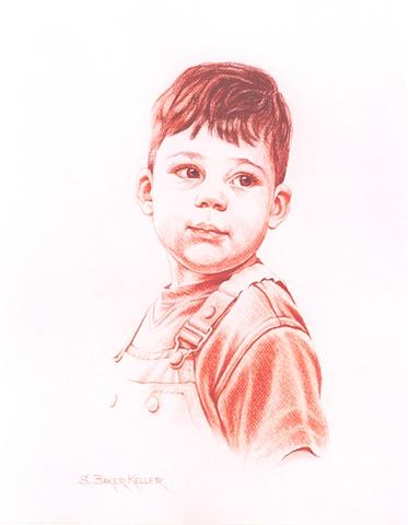 Conte Crayon Portrait of a Young Boy by Sally Baker Keller