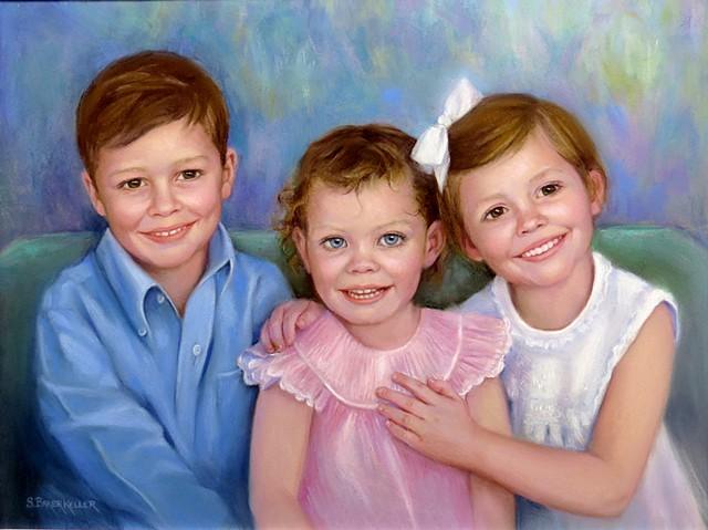 Pastel Portrait of 3 Young Children by Sally Baker Keller