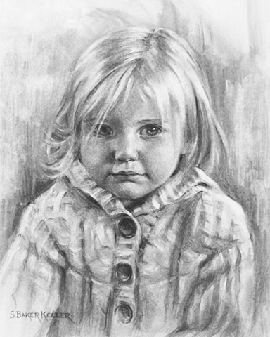 Charcoal Portrait of a Young Girl by Sally Baker Keller