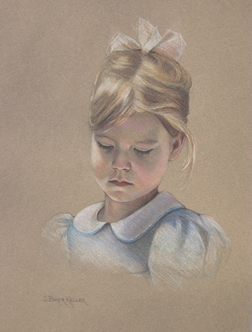 Colored Pencil Portrait of a Young Girl by Sally Baker Keller