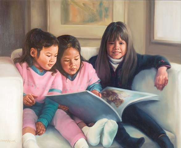 Oil Portrait of Three Young Girls by Sally Baker Keller