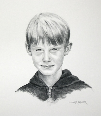 Charcoal Portrait of a Young Boy by Sally Baker Keller