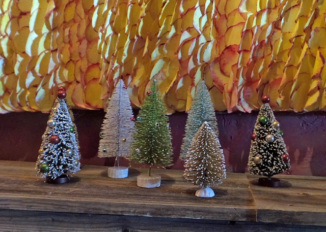 enchanted forest, bottlebrush christmas trees